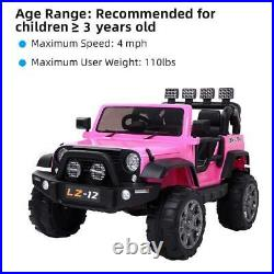 12V Powered Kids Ride on Toy Car Electric Battery withRemote Control 3 Speed Pink