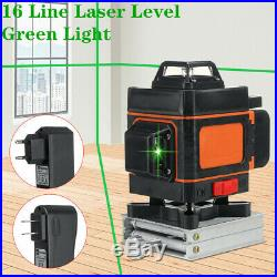 16 Line 4D Laser Level Green Light Auto Self Leveling 360° Rotary Measure Cross