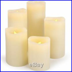 5 Piece Flickering Candles Set Led Flame Real Wax Pillar Battery Included 281