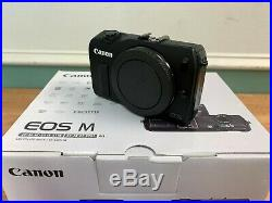 Canon EOS M body only (includes battery, charger, strap, manuals, USB) NEW