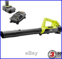 Cordless Leaf Blower Ryobi ONE+ 90 MPH 200 CFM 18-V Battery And Charger Include