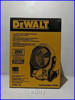DEWALT DCE511B 20-Volt Max Jobsite Fan Battery Not Included corded cordless New