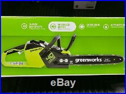 Greenworks 14- Inch 40V Chainsaw 2.5Ah Battery and Quick Charger Included