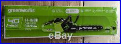 Greenworks 14-inch, 40Volt Cordless Chainsaw, Battery&Charger Included, New