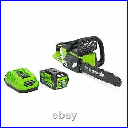 Greenworks 16-Inch 40V Cordless Chainsaw, 4.0 AH Battery Included 20312 New