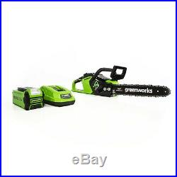 Greenworks 2012802 40V 14-Inch Cordless Chainsaw with Battery & Charger Included