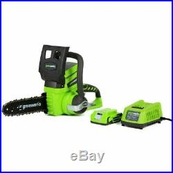 Greenworks 24 Volt Lithium Ion 10in. Cordless Electric Chainsaw Battery Included