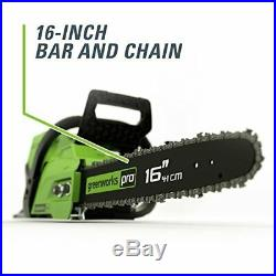 Greenworks Pro 60-volt Max Lithium-ion 16-in Cordless Chainsaw Battery Included