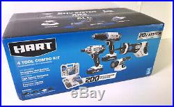 HART 20V Cordless 4 Tool Combo Kit with 200 Piece Accessory Kit Included #M636