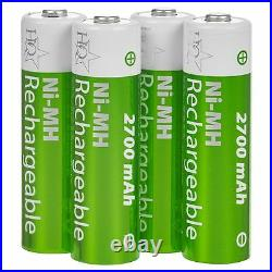 HQ AA Or AAA Battery Charger 2700 Mah Rechargeable Batteries Included High Power