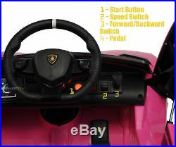 Kids Electric Car 12V Battery Lambo Ride On Toy Remote Control MP3 Lights Pink