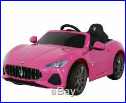 Kids Ride On Car Maserati 12V Battery Remote Control MP3 Open Doors Castors Pink
