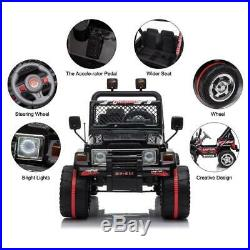 Kids Ride On Car Toy 12V Battery LED Light 3 Speed and Remote Control Black