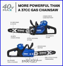 Kobalt 40-Volt Lithium Ion 14-in Cordless Electric Chainsaw (Battery Included)