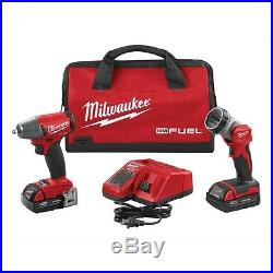 MILWAUKEE M18 3/8 Drive Cordless Impact Wrench with 2 Batteries Charger & Light