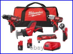 Milwaukee 2498-25 M12 1.5Ah Cordless Lithium-Ion 5-Tool Combo with Bag