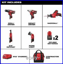 Milwaukee 2498-25 M12 Lithium-Ion Cordless 5-Tool Combo Kit NEW in Box