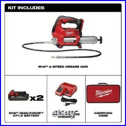 Milwaukee 2646-22CT M18 Grease Gun Kit with2 Batteries Case & Charger 14.5oz