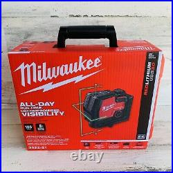 Milwaukee 3522-21 USB Rechargeable Green 100 ft Cross Line and Plumb Laser New