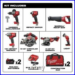 Milwaukee M18 7-Piece Combo Tool Kit With 2 Batteries & Charger New Free Ship