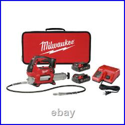 Milwaukee M18 Li-Ion 2-Speed Grease Gun with 2 Batteries 2646-22CT New