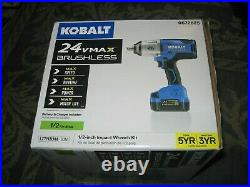 New Kobalt 24vmax Brushless 1/2 Impact Wrench Kit (battery & Charger Included)