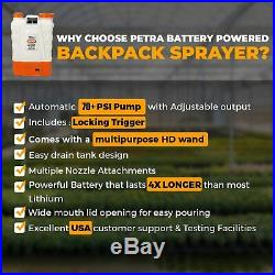 Petra 4 Gallon Battery Powered Backpack Sprayer Wand, Nozzle, Battery Included