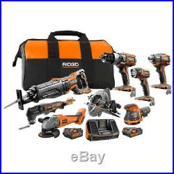 RIDGID 18-Volt Cordless 8-Piece Combo tool Kit set with battery and bag included