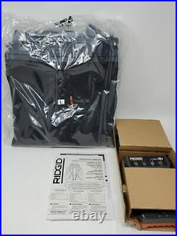 RIDGID Men's Large Black 18-Volt Heated Jacket with battery/charger included