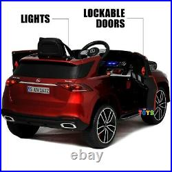 Ride On Car with Remote Control Leather Seat 12V Battery Kids Mercedes-Benz Red