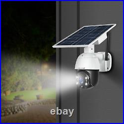 WiFi Wireless Home Solar Outdoor PTZ Security Camera System Full Color Nightview