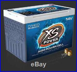 XS Power D1400 14 Volt AGM Battery, 580 & M6 Terminal Hardware Included